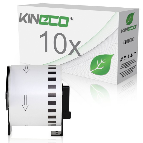 10x Etiketten kompatibel zu Brother DK-22205, 62mm x 30.48m
