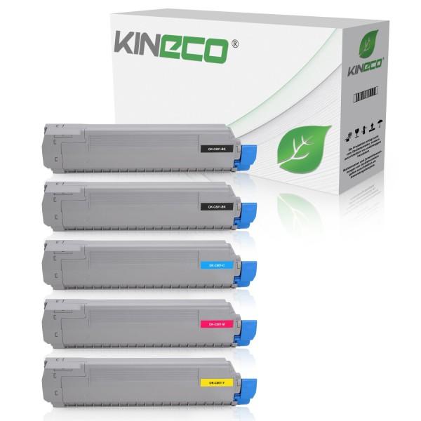 5 Toner kompatibel zu OKI C801 C821 XL