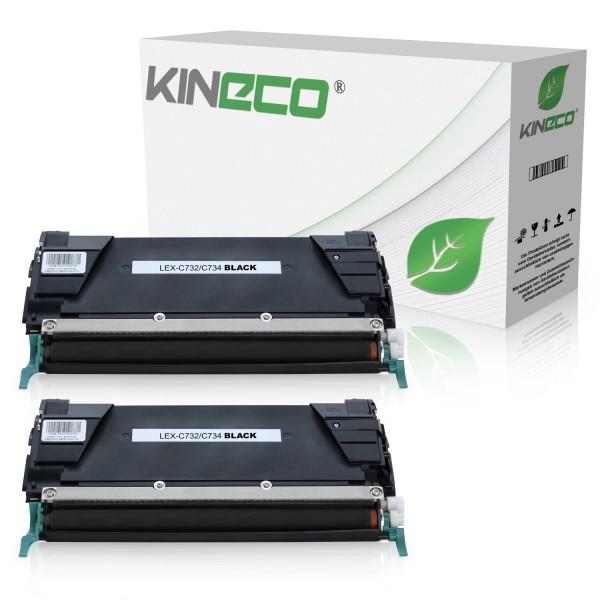 2 Toner kompatibel zu Lexmark C732 C734 C734A2KG XL Schwarz