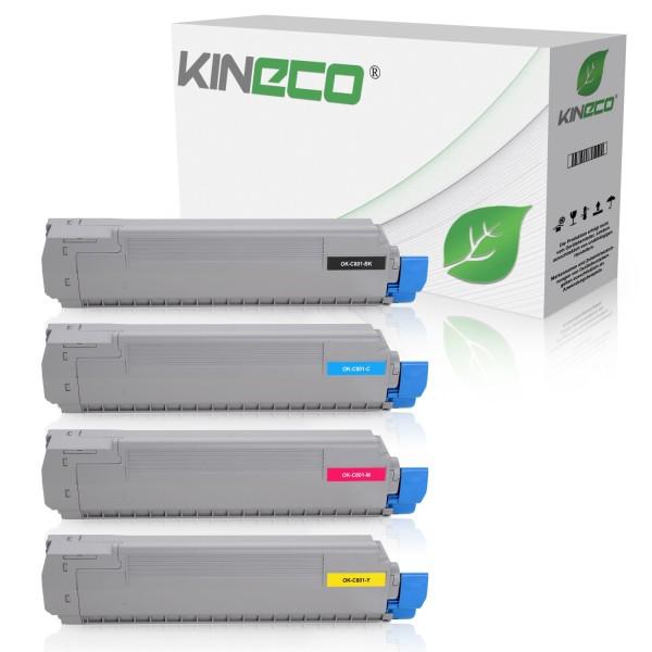 4 Toner kompatibel zu OKI C801 C821 XL
