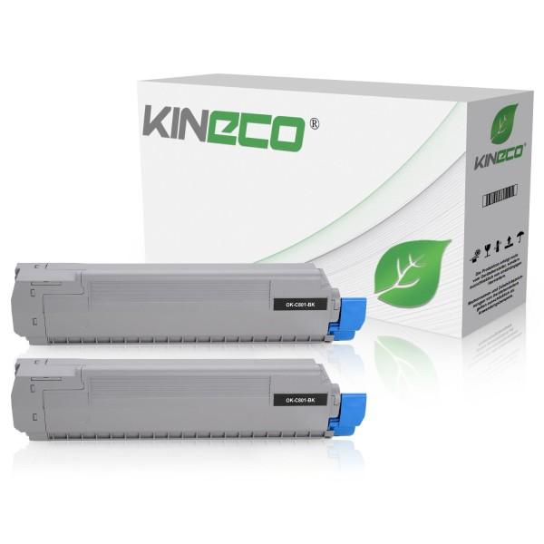 2 Toner kompatibel zu OKI C801 C821 44643004 XL Schwarz